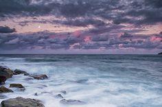 Sunset at Manly by nigelhowe, via Flickr | #landscape #seascape #beach #clouds #rocks #sunset #pink #blue #purple