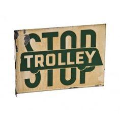 "original c. 1940's double-sided heavy gauge steel die cut porcelain enameled ""trolley stop"" flange sign - dallas-texlite sign co., dallas, tx.  UR #: UR-11986-11"