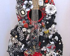 Black Red Vintage Jewelry Embellished Guitar Art The Black Dahlia
