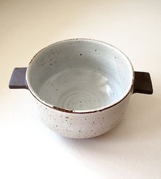 White & Black Handled Ceramic Bowl by Jen E on Scoutmob