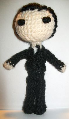 BBC Sherlock's James Moriarty Crochet Doll by PaintsAndNeedles  ||  Moriarty, like John, has evolved to possess a much better haircut and suit.