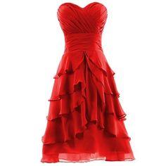 Red Ruffle Skirt Chiffon Prom Dresses,Bridesmaid Dresses,Cocktail Dress,Homecoming Dress