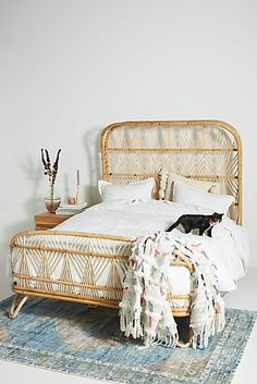 Designed by Justina Blakeney - and crafted entirely by hand - this statement-making rattan bed is regal, earthen, ornate, and organic at once. Hanging Furniture, Bed Furniture, Cheap Furniture, Online Furniture, Living Room Furniture, Furniture Design, Furniture Stores, Luxury Furniture, Antique Furniture