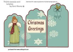Christmas Angel Trifold on Craftsuprint designed by Carole Scorer - Christmas Angel Trifold - Now available for download!