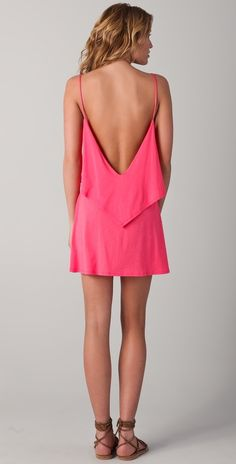 Love the back! summery pink dress.