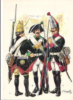 Russian uniforms, Second Battle of Zurich, 1799 - Grenadier Ekaterinoslavski Regiment. Fusilier Schusselburgski Regiment and Grenadier Yaroslavski Musketeer Regiment.