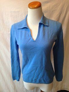 CHARTER CLUB blue 100% CASHMERE collared sweater Small S #CharterClub #cashmere