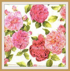 2 PAPER NAPKINS for DECOUPAGE - Dark Pink Roses #186 by VintageNapkins on Etsy