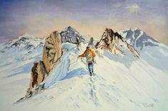 Tableau Peinture Aquarelle Montagnes Neige Paysage Paysages
