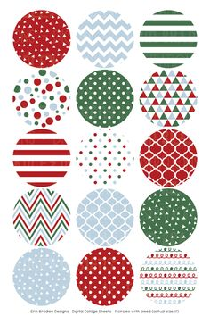 Christmas Red Blue Green Digital Bottle Cap Images – Erin Bradley/Ink Obsession Designs
