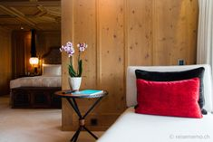 The Alpina Gstaad in Switzerland with its luxurious rooms and restaurants offers an Alpine hotel encounter of the superior kind! Alpine Hotel, Gstaad Switzerland, Restaurant Offers, Mountain, Throw Pillows, Luxury, Bed, Table, Room