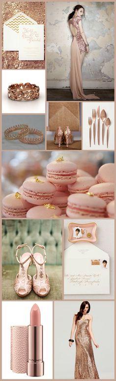 Rose Gold Wedding Inspiration Board #PinkWedding #InspirationBoard