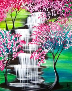 Clifty Falls Canvas Painting Tutorials, Easy Canvas Painting, Simple Acrylic Paintings, Spring Painting, Acrylic Art, Diy Painting, Canvas Art Prints, Easy Landscape Paintings, Waterfall Paintings