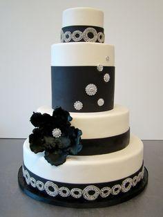 Sophisticated Black & White with Bling Wedding Cake