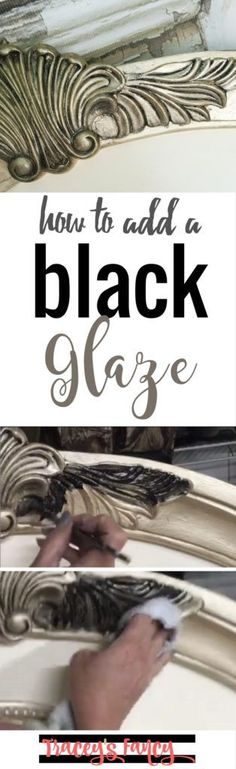 How to add black glaze to furniture painting projects | Furniture Painting Tips and Techniques by Tracey's Fancy | Glaze adds dimension, balance to the other elements and furniture details to play up this headboard's character