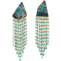 Opal and Turquoise Beaded Drop Earrings ($20,475) ❤ liked on Polyvore featuring…