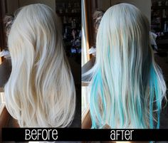 Items similar to Any Color – Hair Extension / Streak Splash // wide // Long Straight Hair on Etsy - Modern Blonde Hair With Blue Highlights, Cool Blonde Hair, Coloured Highlights, Oval Face Hairstyles, Straight Hairstyles, Cool Hairstyles, Pixie Hairstyles, Turquoise Hair, Teal Hair