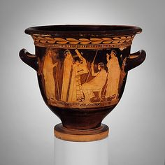 Terracotta bell-krater (bowl for mixing wine and water)  Attributed to Polygnotos     Period:      Classical  Date:      ca. 450–440 B.C.  Culture:      Greek, Attic  Medium:      Terracotta  Dimensions:      H. 14 3/16 in. (36 cm); diameter of mouth 15 1/16 in. (38.2 cm)  Classification:      Vases