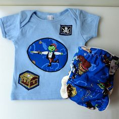 """Pirates for Valentine's Day! Newborn Tee and Diaper set - """"Pirate Frogs"""" by ZanyZebraDesigns Cloth Diapers, Frogs, Pirates, Goodies, Just For You, Valentines, Trending Outfits, Sweatshirts, Tees"""