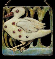 CHARLES ROBERT ASHBEE 1863-1942 Attrib.  Guild of Handicraft 'Duck' Brooch  Silver Gold Enamel Ruby  British, c.1900