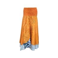 Mogulinterior Skirts-Long Maxi Skirt Orange Printed Silk Sari Bandeau... (£19) ❤ liked on Polyvore featuring dresses, long orange skirt, orange long dress, ankle length skirt, silk dress and long ankle length skirts