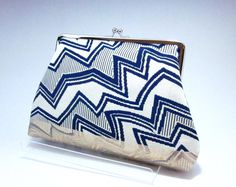 Geometric Blue Clutch/ Kimono bag / Zig Zag / Hand made/