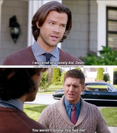 "11x08 Just My Imagination [gifset] - ""I was kind of a lonely kid, Dean."" - Sam and Dean Winchester; Supernatural - aw, Dean getting defensive."