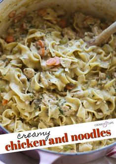 Creamy Chicken and Noodles is the ultimate in comfort food loaded with egg noodles, tender chicken, and a creamy sauce! You have all the best parts of chicken noodle soup in this easy chicken recipe guaranteed to be loved by even the pickiest of eaters! #cookiesandcups #chickenandnoodles #comfortfood #chickenrecipe #dinnerrecipe