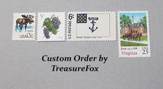 Reserved Custom Order for Kara. Unused Vintage US Postage Stamps for mailing wedding invitations by TreasureFox on Etsy