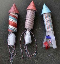 Estos cohetes rellenos de caramelos como souvenirs infantil es un lindo regalo para los niños invitados de la fiesta. Te enseñamos como hacerlo.