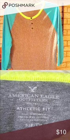 AM eagle T shirt Grey with light aqua American eagle T shirt for young men's . Quarter sleeve American Eagle Outfitters Shirts Tees - Short Sleeve