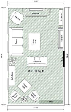 How to make a room feel BIGGER Great Room Layout, Room Layout Design, Small Room Design, Family Room Design, Family Room Layouts, Large Room Layout, Living Room Layouts, Small Room Layouts, Living Room Plan