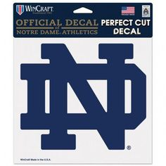 Notre Dame Decal 8x8 Color ND