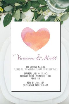 Engagement Announcement, DIY Printable Invitation, Watercolor, Hearts, Love, Party, Wedding, Save The Date, Print at Home, Invite,Fun,Unique      A