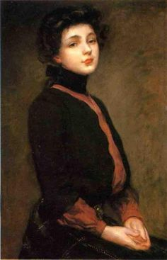 Gilded Age era, American show girl and artist model, Evelyn Nesbit. Her portrait in c.1901 by: James Carroll Beckwith, an American Impressionist artist, (1852-1917). ~ {cwl} ~~ (stellar-raven)