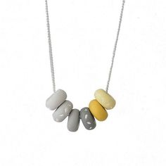 Grey & Yellow Colorful Bead Necklace for Women, handmade modern jewellery gifts by Lottie Of London