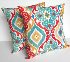 Two indoor/outdoor ikat print pillow covers, cushion, decorative throw pillow, coral pillow, 16x16, nautical pillow by ThatDutchGirlPillows on Etsy