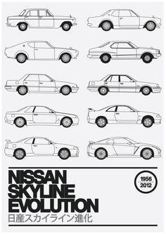 nissan skyline evolution industrial design sketches side views illustration alike with black line