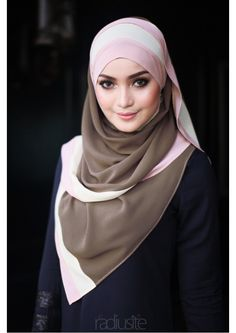Hana Long Shawl in Olive Brown/Soft Yellow/Dusty Pink