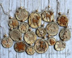 Wood Crafts for Christmas - Natural Christmas Tree Ornaments Crafted From Wooden Branch Slices