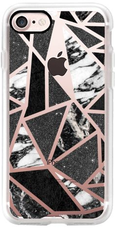Casetify iPhone 7 Classic Grip Case - Chic Modern Black and White Marble and Faux Black Glitter Geometric Triangles- Transparent by BlackStrawberry #Casetify