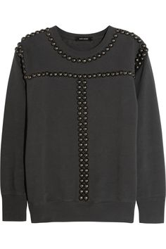 Isabel Marant studded cotton sweatshirt: All you need to do is add rows of studs to a sweatshirt. Easy! #moodfabrics #DIYfashion