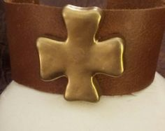 Brown leather cuff with brushed gold cross - Edit Listing - Etsy