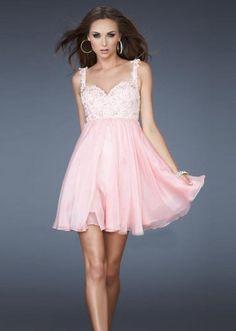 Pink Lace Bust Embellishment A-line Short Cocktail Dress