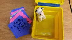 Mystery Box: Inside our yellow box, we found a cow! What color is a cow? Passed out colorful card stock cows to all the kids. Farm Animal Songs, Farm Animals, Songs For Toddlers, Music Class, Mystery Box, Color Card, Story Time, Lesson Plans, Card Stock