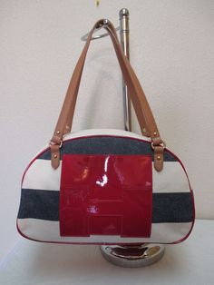 Tommy Hilfiger Md Duffler 6927806 467 Beige Blue Red Brown Gold Retail $85.00-#2 #TommyHilfiger #MdDuffle