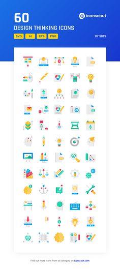 Design Thinking  Icon Pack - 60 Flat Icons Flat Icons, Png Icons, More Icon, Icon Pack, Icon Font, Design Thinking, Design Development, Fonts, Packing