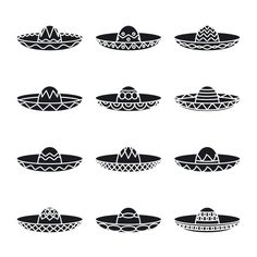 Vector set of mexican sombrero hat by Microvector on Creative Market