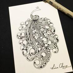 My favorite tangle-Mooka#drawing #art #zentangle #peacock
