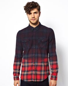New+Look+Shirt+in+Dip+Dye+Tartan